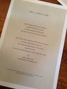 The Clove Club Menu