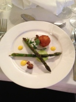 Crisp pheasant egg with wild garlic panna cotta, asparagus and st. george's mushrooms