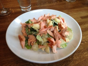 Hot Smoked Salmon Salad with Horseradish Creme Fraiche