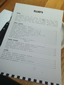 Gluten Free Friendly Menu at Elliot's Cafe, Borough Market