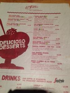 Gluten Free Dessert Menu